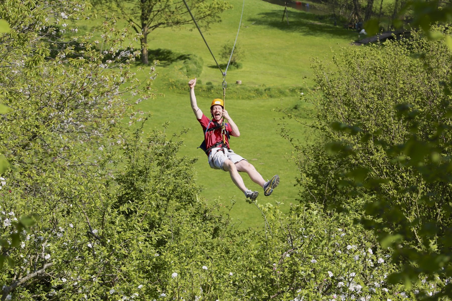 Dad on zip wire